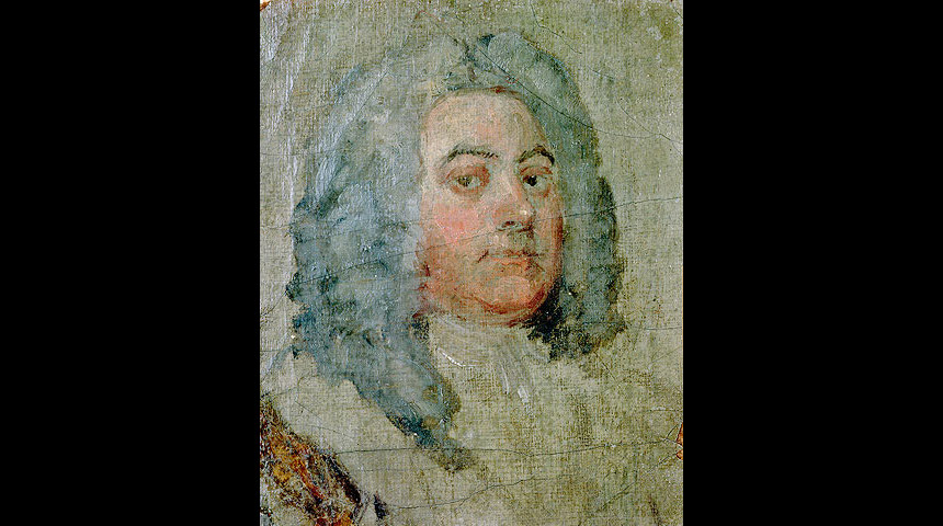 Unfinished oil sketch of Handel by William Hogarth (1695)